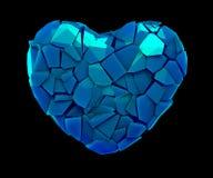 Símbolo do coração em uma ilustração 3D feita de cor azul plástica quebrada isolada em um preto ilustração royalty free