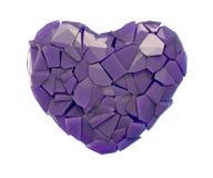 Símbolo do coração em uma ilustração 3D feita de cor roxa plástica quebrada isolada em um branco Ilustração Royalty Free