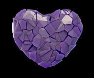 Símbolo do coração em uma ilustração 3D feita de cor roxa plástica quebrada isolada em um preto Imagens de Stock