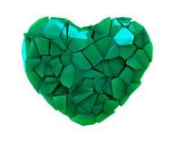 Símbolo do coração em uma ilustração 3D feita de cor verde plástica quebrada isolada em um branco Ilustração Royalty Free