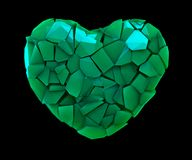 Símbolo do coração em uma ilustração 3D feita de cor verde plástica quebrada isolada em um preto Fotografia de Stock Royalty Free
