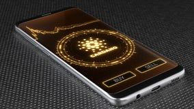 Símbolo do cryptocurrency de Cardano na tela móvel do app ilustração 3D ilustração royalty free