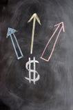 Símbolo do dólar americano Com setas ascendentes Imagens de Stock Royalty Free