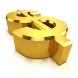 símbolo do dólar americano do ouro 3d Fotografia de Stock