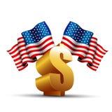 Símbolo do dólar com bandeira dos EUA Imagens de Stock