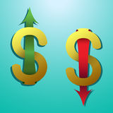 Símbolo do dólar com a seta que estica acima para baixo Imagens de Stock Royalty Free