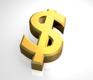 Símbolo do dólar no ouro (3D) Fotos de Stock