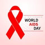 Símbolo do Dia Mundial do Sida, o 1º de dezembro Símbolo vermelho realístico da fita Projeto médico Ilustração do vetor ilustração royalty free