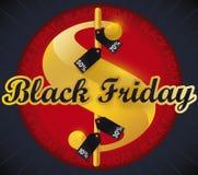 Símbolo do dinheiro com as etiquetas para Black Friday, ilustração da oferta do vetor Imagens de Stock