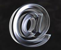 Símbolo do email no vidro - 3D Imagens de Stock