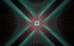 Símbolo do emblema do Fractal da flor cósmica com as quatro pétalas que rodam pétalas vermelhas e amarelas e uma estrela interna  Foto de Stock Royalty Free