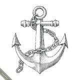 Símbolo do estilo do vintage do desenho da mão da âncora Imagens de Stock Royalty Free
