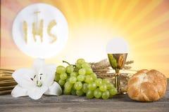 Símbolo do Eucaristia do pão e o vinho, o cálice e o anfitrião, primeiro comm imagens de stock royalty free