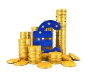 Símbolo do Euro e moedas de ouro Fotografia de Stock