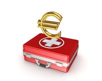 Símbolo do euro em uma mala de viagem médica. Fotos de Stock Royalty Free