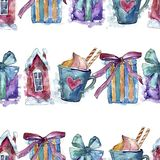 Símbolo do feriado de inverno do Natal em um estilo da aquarela Teste padrão sem emenda do fundo imagem de stock