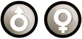 Símbolo do género masculino e fêmea Fotografia de Stock