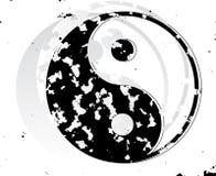 Símbolo do grunge de Yin e de Yang. ilustração do vetor