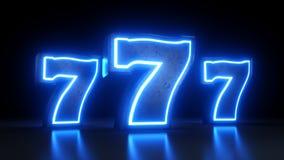 Símbolo do jackpot do casino dos entalhes 777 com as luzes azuis de néon isoladas no fundo preto - ilustração 3D ilustração stock