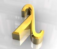 Símbolo do Lambda no ouro (3d) Fotografia de Stock Royalty Free