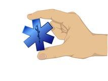 Símbolo do médico da preensão da mão ilustração stock