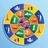 Símbolo do marco do mundo no alvo Imagem de Stock Royalty Free