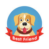 Símbolo do melhor amigo Cara do animal de estimação do cão com fita vermelha Fotos de Stock Royalty Free