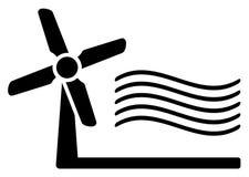Símbolo do moinho de vento e do vento Foto de Stock