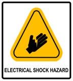 Símbolo do perigo de choque bonde, ilustração do vetor com sinal de aviso no triângulo amarelo isolado no branco ilustração royalty free