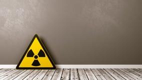 Símbolo do perigo de radiação em uma sala Foto de Stock