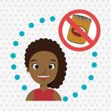 símbolo do perigo do fast food da menina da criança dos desenhos animados Foto de Stock