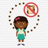 símbolo do perigo do fast food da menina da criança dos desenhos animados Fotos de Stock