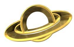 Símbolo do platet de Saturno no ouro - 3d feito Imagens de Stock Royalty Free