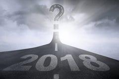 Símbolo do ponto de interrogação e números 2018 Fotografia de Stock