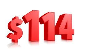 Símbolo do preço de 114$ cem e quatorze texto vermelho 3d para render com sinal de dólar no fundo branco ilustração stock