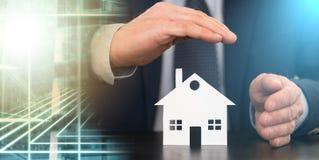 Símbolo do seguro da casa; exposição múltipla imagens de stock royalty free