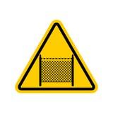 Símbolo do sinal de aviso com cerca do arame farpado Note a beira na estrada ilustração royalty free