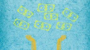 Símbolo do sinal de dólar que cai para baixo com espera das mãos Escova fácil mim Fotografia de Stock Royalty Free