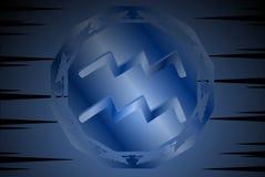 Símbolo do sinal do aquário no fundo ilustração stock