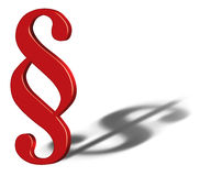 Símbolo do sinal do parágrafo com sombra do símbolo do dólar Imagens de Stock Royalty Free