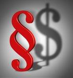 Símbolo do sinal do parágrafo com sombra do símbolo do dólar Fotografia de Stock