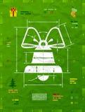 Símbolo do sino de Natal como o desenho técnico do modelo ilustração stock