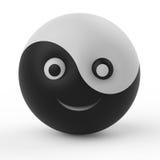 Símbolo do smiley da bola de Ying yang Fotografia de Stock Royalty Free