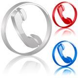 símbolo do telefone 3D Imagens de Stock