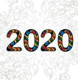 Símbolo 2020 do texto no fundo floral Fotos de Stock