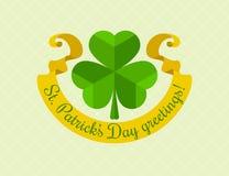 Símbolo do trevo para o dia dos patricks de Saint com fita Imagens de Stock Royalty Free