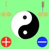 Símbolo do yin e do yang, preto e branco, nos cantos da agulha, faca, mais e menos Fotografia de Stock