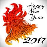 Símbolo do zodíaco do galo de 2017 anos Imagens de Stock