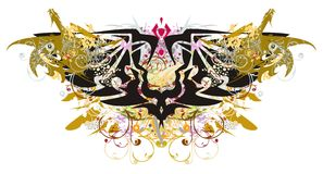 Símbolo dobro da águia do Grunge com dragões do ouro Imagens de Stock Royalty Free