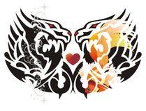 Símbolo dobro do dragão com coração vermelho Imagem de Stock Royalty Free